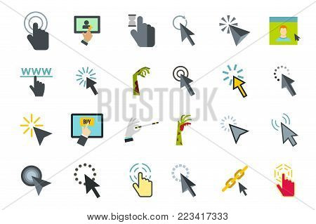 Cursor icon set. Flat set of cursor vector icons for web design isolated on white background