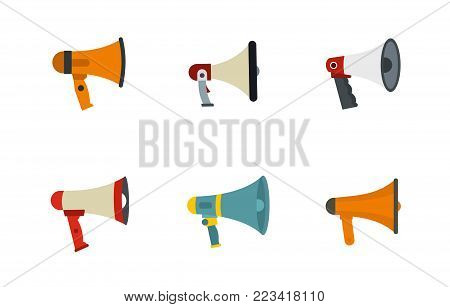 Hand speaker icon set. Flat set of hand speaker vector icons for web design isolated on white background