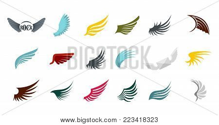 Wings icon set. Flat set of wings vector icons for web design isolated on white background
