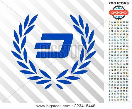 Dashcoin Laureal Wreath icon with 700 bonus bitcoin mining and blockchain design elements. Vector illustration style is flat iconic symbols designed for blockchain apps.