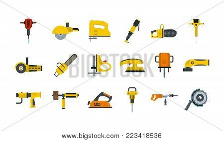 Electric tools icon set. Flat set of electric tools vector icons for web design isolated on white background