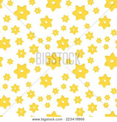 Seamless pattern with differentstars macaroni on white background. Italian macaroni, traditional cuisine