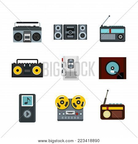 Record player icon set. Flat set of record player vector icons for web design isolated on white background