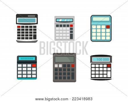 Calculator icon set. Flat set of calculator vector icons for web design isolated on white background