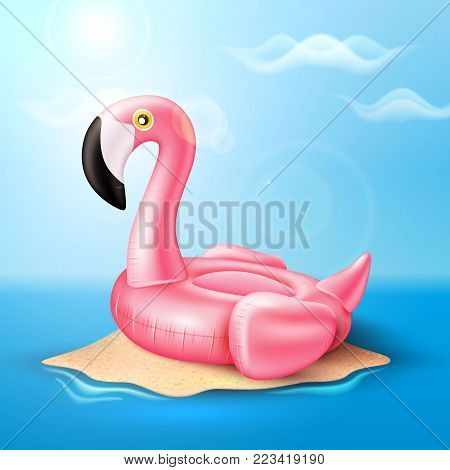 Vector realistic 3d pink flamingo shape inflatable swimming pool ring, tube, float. Summer vacation holiday, traveling, beach and ocean . Illustration on sea island blue cloud sky background