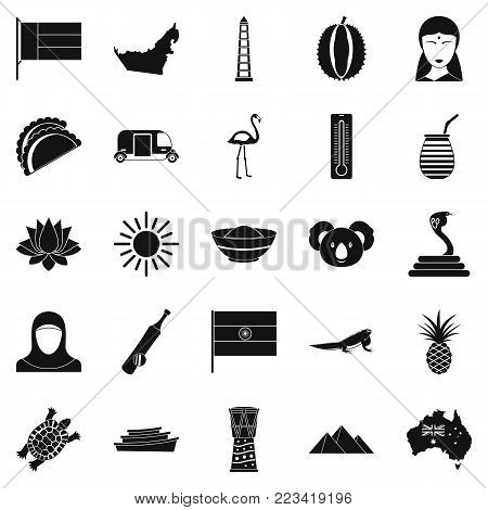 Exotic beast icons set. Simple set of 25 exotic beast vector icons for web isolated on white background