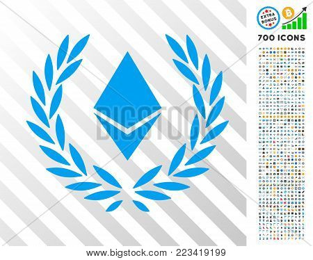 Ethereum Crystal Laureal Wreath pictograph with 700 bonus bitcoin mining and blockchain pictographs. Vector illustration style is flat iconic symbols designed for crypto currency software.