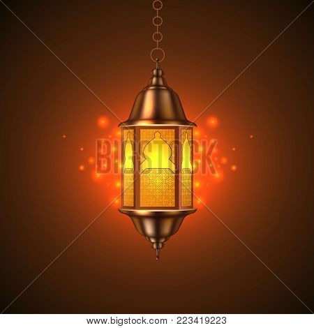 Vector ramadan kareem celebration lamp lantern realistic 3d illustration. Arabic islam culture festival decoration religious fanoos glowing symbol dark background Traditional muslim poster card design