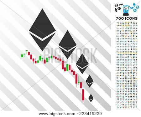 Ethereum Deflation Chart icon with 7 hundred bonus bitcoin mining and blockchain pictographs. Vector illustration style is flat iconic symbols designed for crypto-currency software.