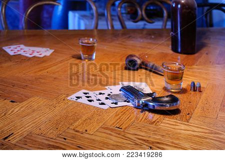 Ace's and eight's the Dead man's hand with shallow depth of field for effect and copy space