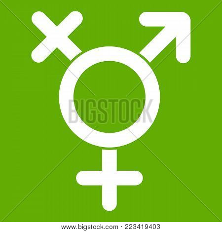 Transgender sign icon white isolated on green background. Vector illustration