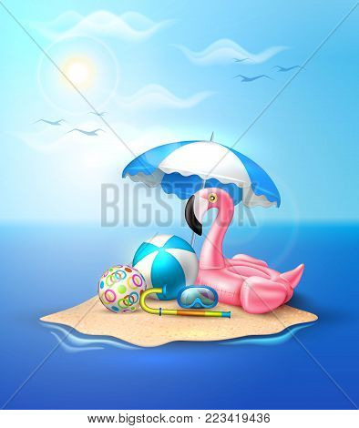 Vector realistic 3d pink flamingo inflatable swimming pool ring float umbrella ball diving mask snorkel. Summer vacation holiday traveling beach ocean Illustration sea island blue cloud sky background