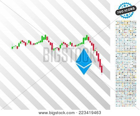Ethereum Falling Chart pictograph with 700 bonus bitcoin mining and blockchain pictures. Vector illustration style is flat iconic symbols designed for crypto currency software.