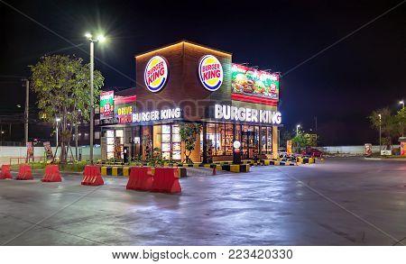 BANGKOK, THAILAND - DECEMBER 19: Local Burger King fast food restaurant opens 24 hours in Bangkok on December 19, 2017.