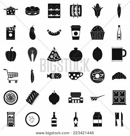 Light breakfast icons set. Simple set of 36 light breakfast vector icons for web isolated on white background
