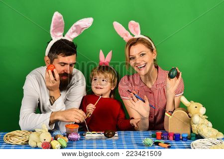 Man With Beard, Woman And Kid With Happy Faces
