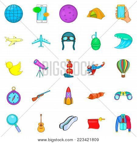 Exploration icons set. Cartoon set of 25 exploration vector icons for web isolated on white background