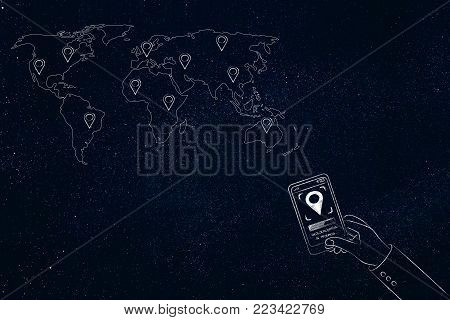 location services technology: world map with GPS icons and user with smartphone and location symbol on screen