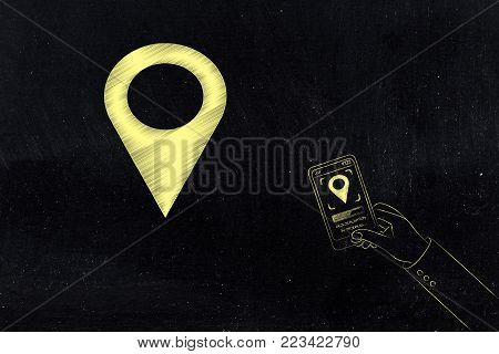 location services technology: GPS icon and user with smartphone and location symbol on screen