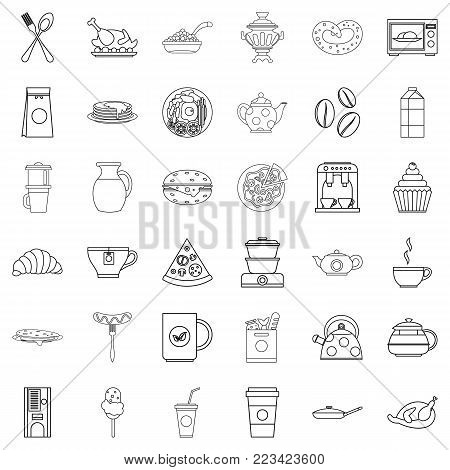 Feast icons set. Outline set of 36 feast vector icons for web isolated on white background