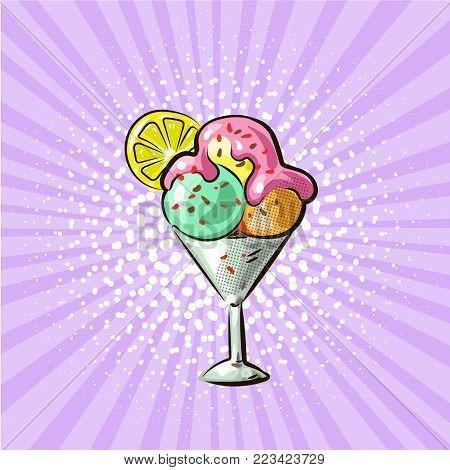 Ice cream pop art hand drawn vector illustration.