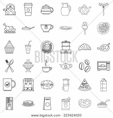 Fodder icons set. Outline set of 36 fodder vector icons for web isolated on white background