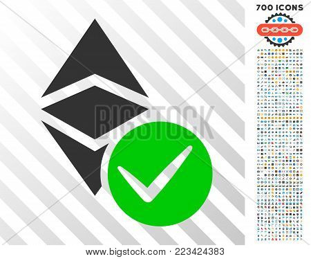 Valid Ethereum Classic pictograph with 7 hundred bonus bitcoin mining and blockchain symbols. Vector illustration style is flat iconic symbols designed for crypto currency websites.