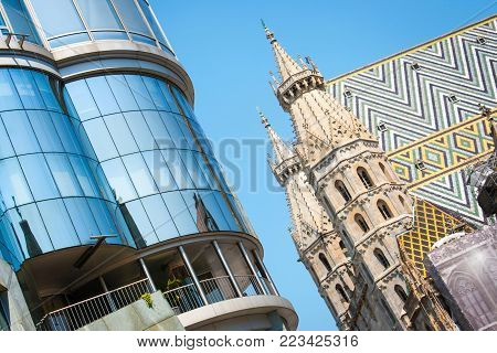 Beautiful view of Haas Haus with famous St. Stephen's Cathedral on a sunny day in Vienna, Austria