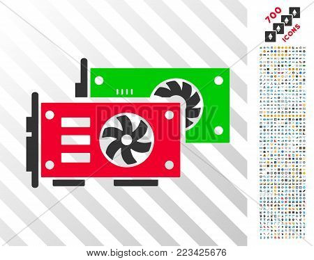 Video Graphics Gpu Cards pictograph with 700 bonus bitcoin mining and blockchain pictures. Vector illustration style is flat iconic symbols designed for bitcoin apps.