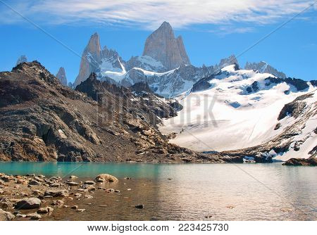 Mountain landscape with Mt Fitz Roy and Laguna de Los Tres in Los Glaciares National Park, Patagonia, Argentina, South America