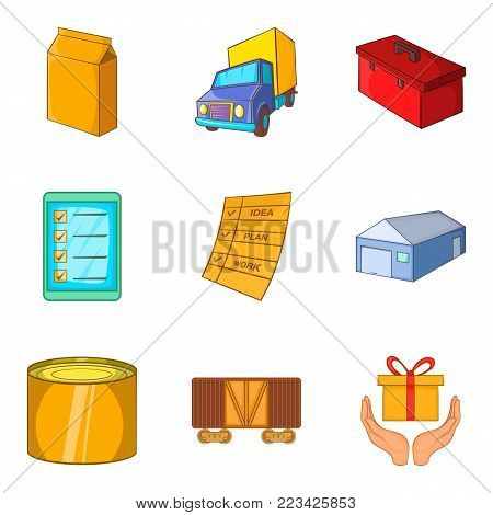 Goods storage icons set. Cartoon set of 9 goods storage vector icons for web isolated on white background