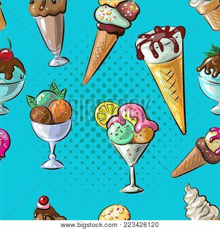 Ice cream seamless pattern stock vector illustration