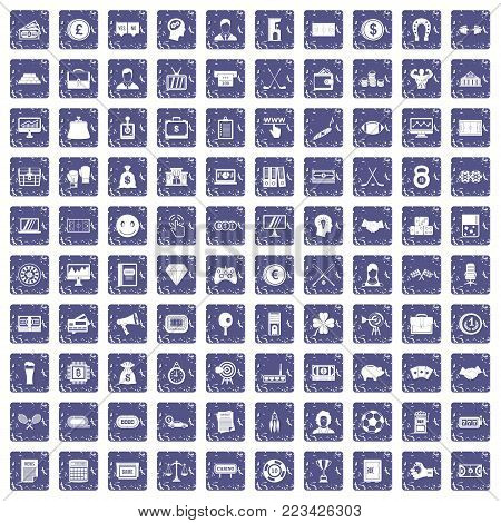 100 sweepstakes icons set in grunge style sapphire color isolated on white background vector illustration