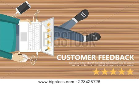 Rating on customer service illustration. Man sitting on the floor and holding lap top in his lap. Website rating feedback and review concept. Flat vector illustration