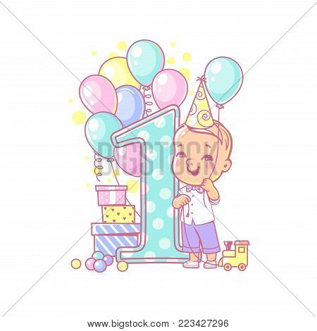 One year boy standing near large number 1. First year celebration. Little girl's birthday. Cute toddler boy wearing bow tie. Air balloons, gifts, crown, bright color. Party. Vector illustration.