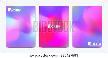 Modern vector template for brochure, leaflet, flyer, cover, catalog in A4 size. Abstract fluid 3d shapes vector trendy liquid colors backgrounds set. Colored fluid graphic composition illustration