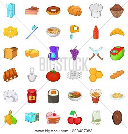 Celebratory meal icons set. Cartoon set of 36 celebratory meal vector icons for web isolated on white background poster