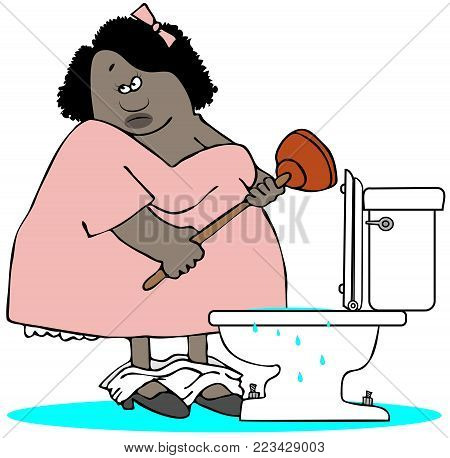 Illustration of a black woman with panties around her ankles plunging a plugged toilet.