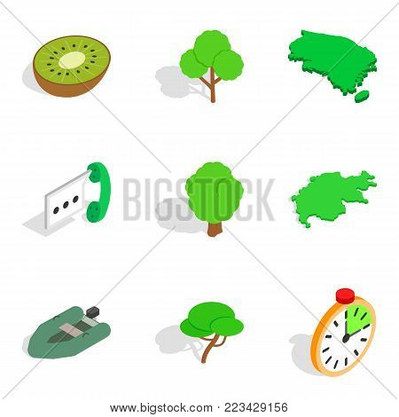 Environmentally friendly icons set in isometric style isolated on white background