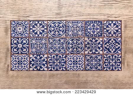 Typical decoration of the facade of the house. Traditional ceramic tiles.Traditionell portuguese tiles