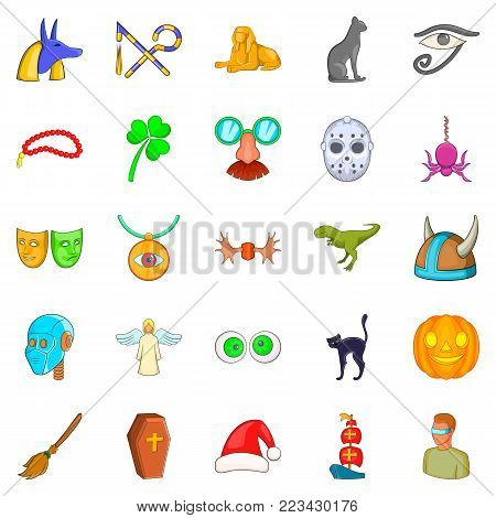 Phantasy icons set. Cartoon set of 25 phantasy vector icons for web isolated on white background