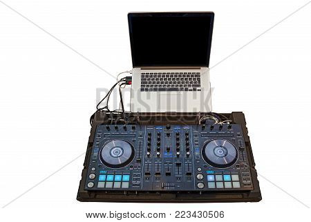 music console and headphones for DJ. DJ console cd mp4 deejay mixing desk music party in nightclub. DJ console for experiments with music