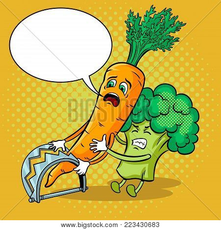 Cartoon carrot fell into trap and broccoli tries to free it pop art retro vector illustration. Text bubble. Color background. Comic book style imitation.