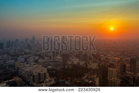 Aerial landscape with beautiful sunset in Bangkok, Thailand