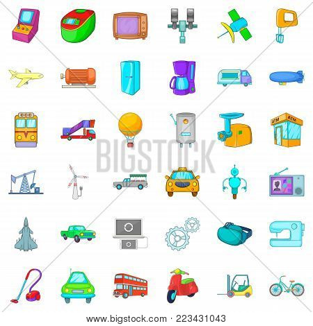 Automatic device icons set. Cartoon set of 36 automatic device vector icons for web isolated on white background