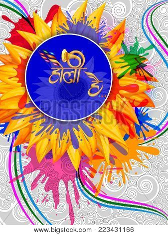 vector illustration of India Festival of Color with Hindi greeting Holi Hain meaning Happy Holi background