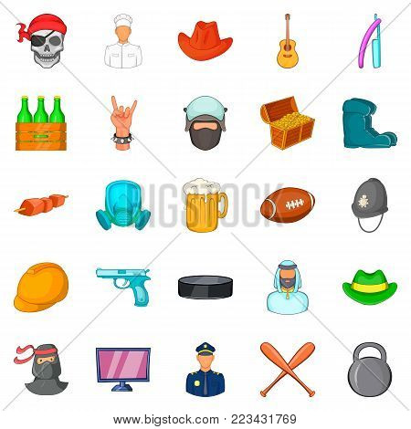 Best dad icons set. Cartoon set of 25 best dad vector icons for web isolated on white background