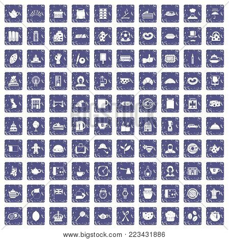 100 tea time food icons set in grunge style sapphire color isolated on white background vector illustration