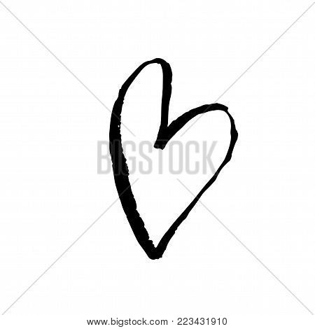 Grunge hand drawn ink heart. Valentine day dry brush print. Vector grunge illustration