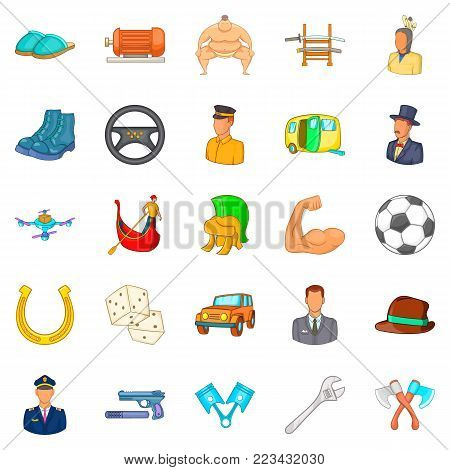 Dad icons set. Cartoon set of 25 dad vector icons for web isolated on white background